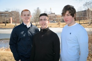 2014 Goldwater Scholars (L-R): Patrick Lenehan, Peter Larson and Michael Cantara (Photo by Peter Morenus, UConn Today)