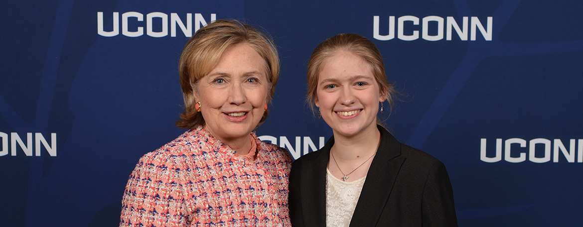 student with Hillary Clinton
